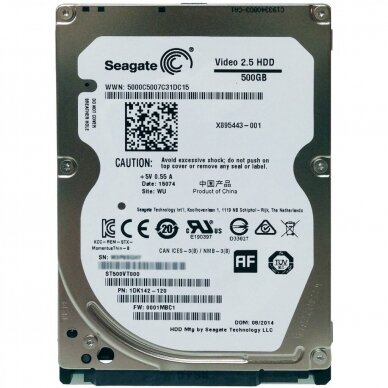 Seagate Video ST500VT000 500GB 5400RPM 2.5inch Slim 16MB Buffer SATA-6Gbps Hard Drive